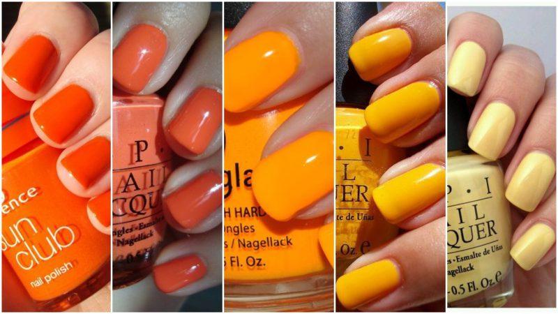 Esmaltes de uñas tonos anaranjado y amarillo verano 2020 Tendencias
