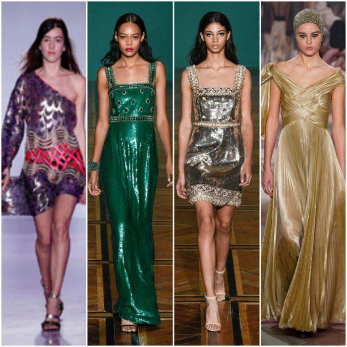 Vestidos de fiesta texturas metalizadas primavera verano 2020 Tendencias