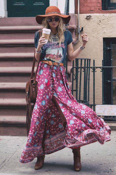 Look falda larga Hipster