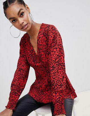 blusa animal print roja