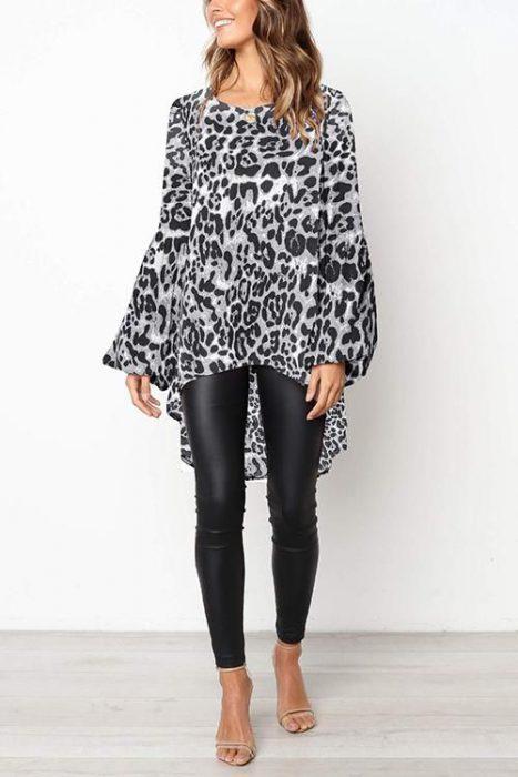 blusa animal print y pantalon engomado