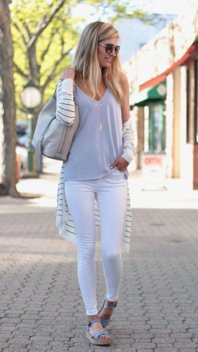 look con jeans blanco