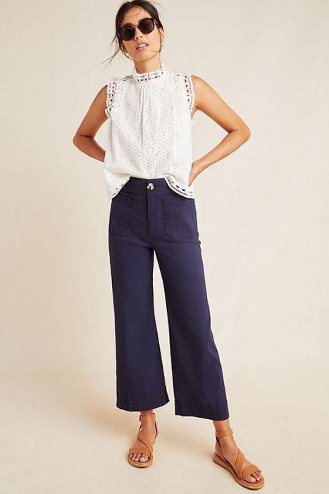 pantalon azul para trabajar en verano