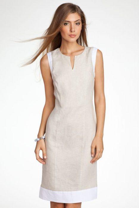 vestido de lino formal mujer ejecutiva