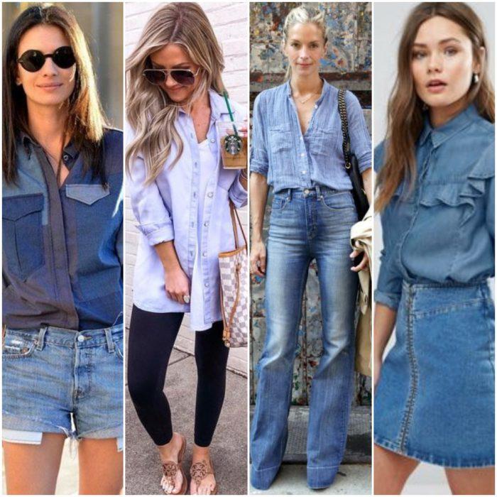 Formas de combinar una camisa de jeans looks mujer