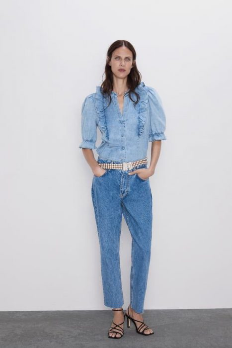 Look camisa jeans mangas cortas victoriana