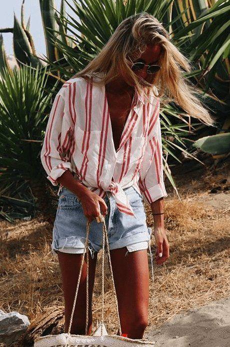 Looks mujer short denim y camisa anudada