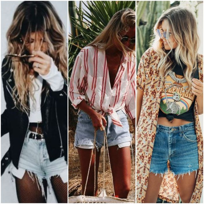 Outfits para mujer en short de denim