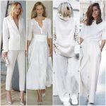 Outfits totla white elegantes para mujer