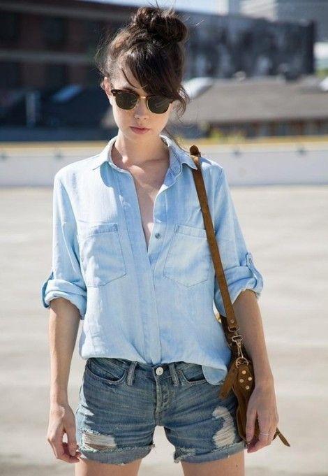 camisa de denim con short de jeans