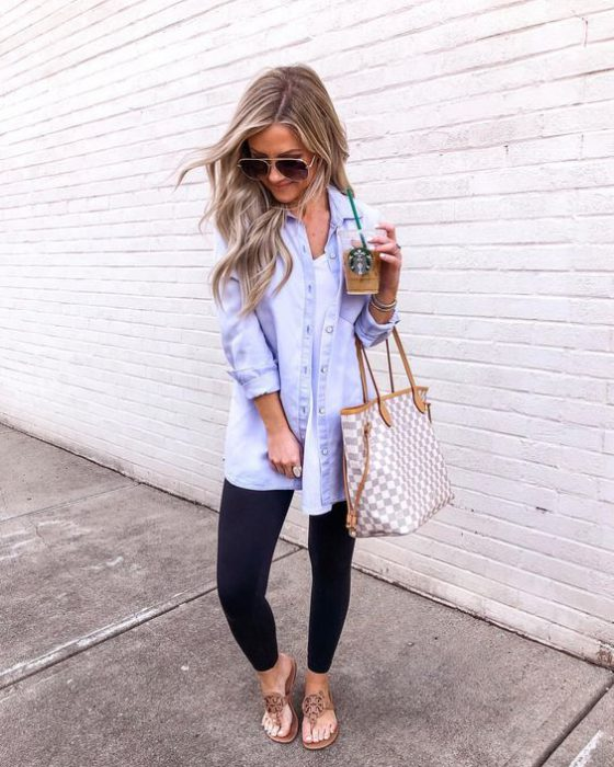 camisa de jeans y calzas mujer look