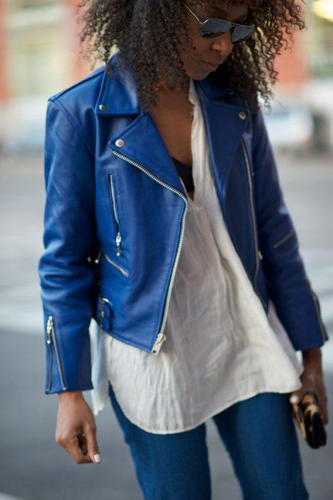 campera de cuero turquesa azul mujer