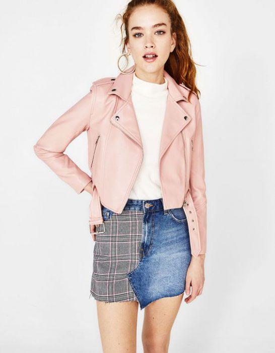 campera rosa corta de cuero
