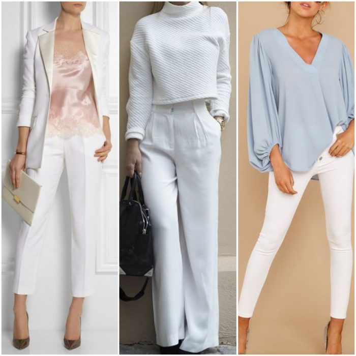 como combinar pantalon blanco muje