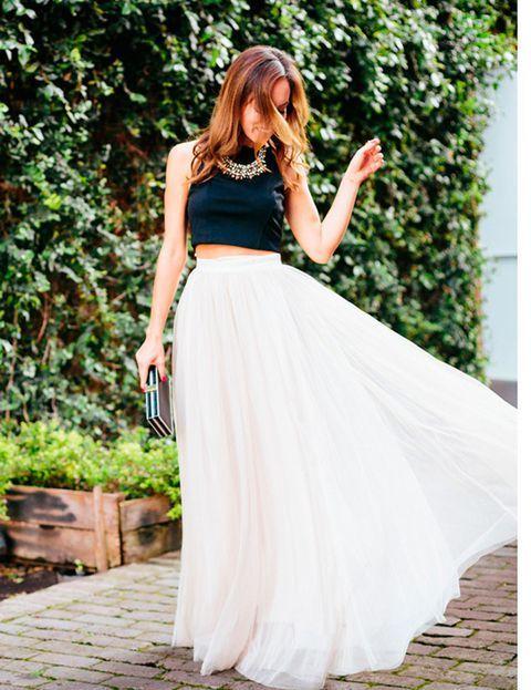 falda larga para fiestas con top negro