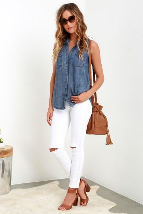 outfit casual mujer jeans blancos