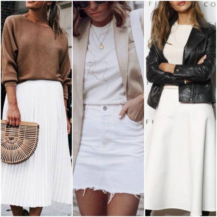 outfits con faldas blancas