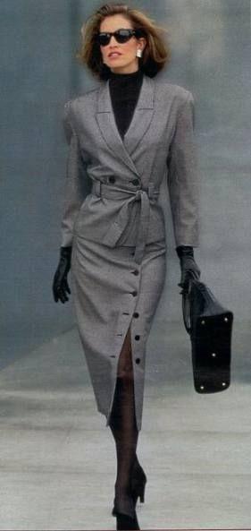 traje con falda para mujer años 80