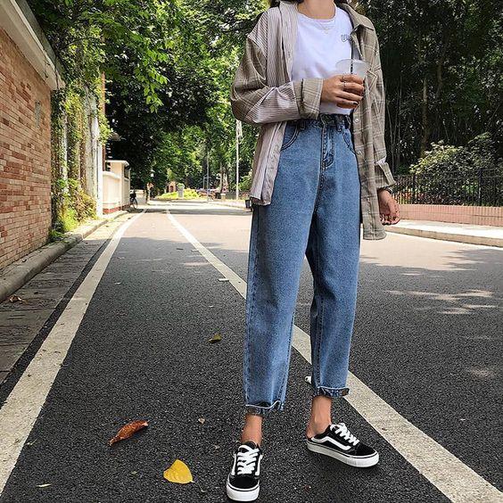 Jeans boyfriend look juvenil informal