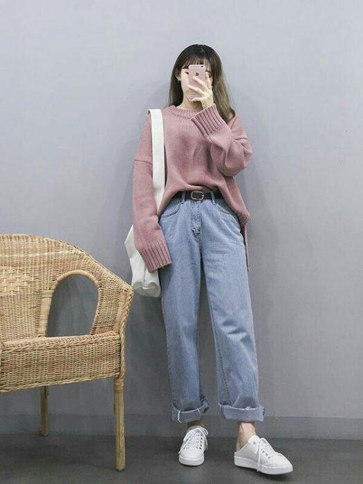 Jeans boyfriend tiro alto look informal juvenil