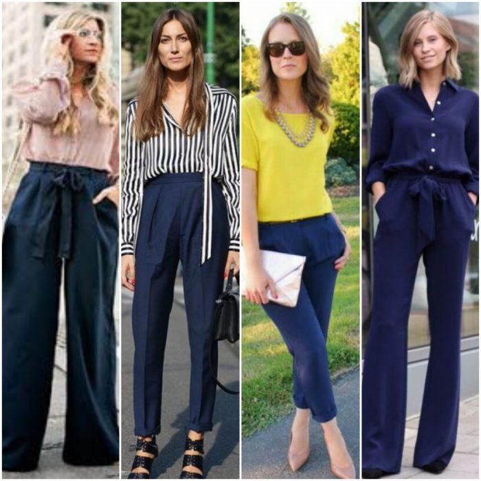 Look en pantalon azul marino para mujer