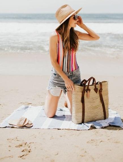bolso cartera para la playa de yute