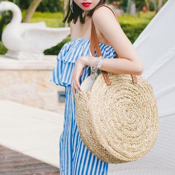 bolso de yute redondo para la playa