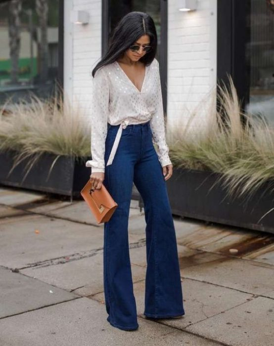 jeans oxford azul look fromal