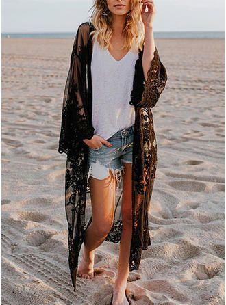 kimono negro de encaje para la playa
