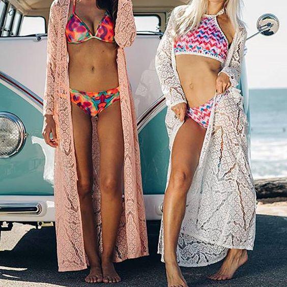 kimonos de encaje para usar con la bikini