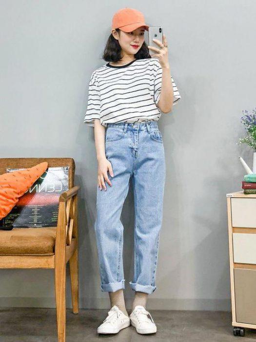 look con pantalon Jeans boyfriend