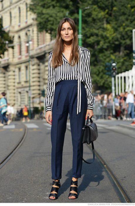 pantalon de vestir con camisa a rayas pantalon azul marino
