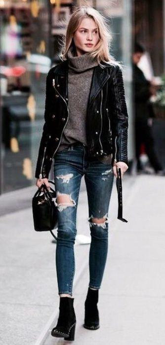 look moderno con campera de cuero para dias de frio