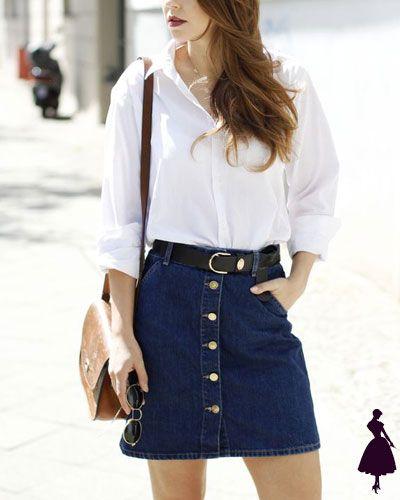 look urbano con minifalda de jeans con botones copia