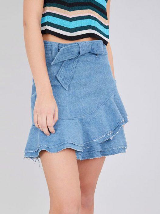 minifalda jeans con volados
