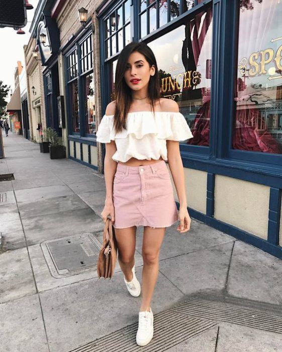 minifalda jeans rosa