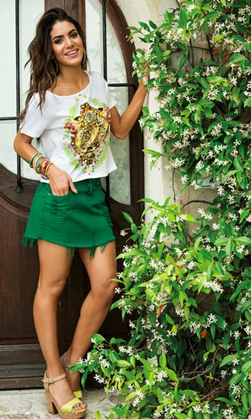 minifalda jeans verde