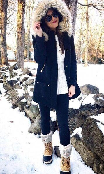 outfit con jeans chupin para el invierno