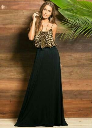 blusa animal print de seda con falda negra