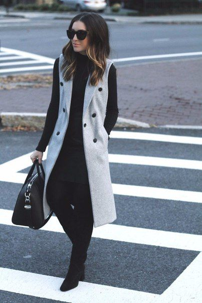 chaleco largo gris con poler morley outfit juvenil para la oficina