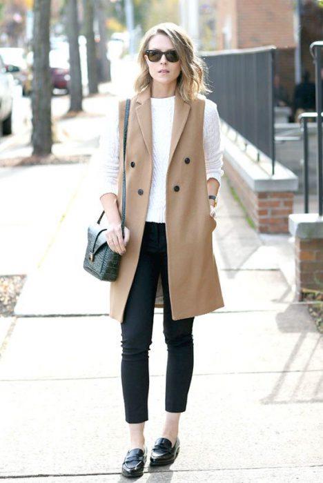 chaleco largo mujer outfit juvenil para la oficina