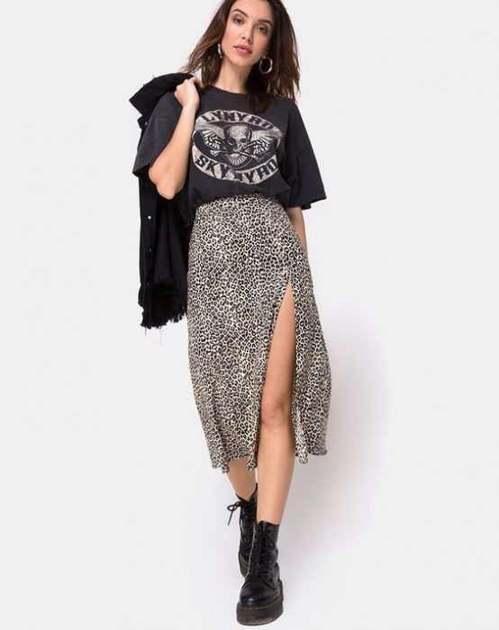 falda animal print look juvenil