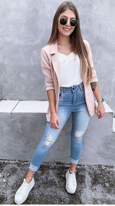 look casual con jeans rotos