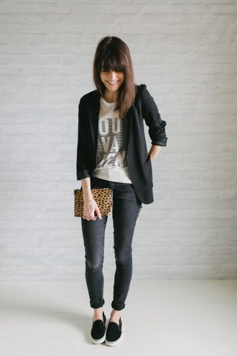 look casual jeans y blazer