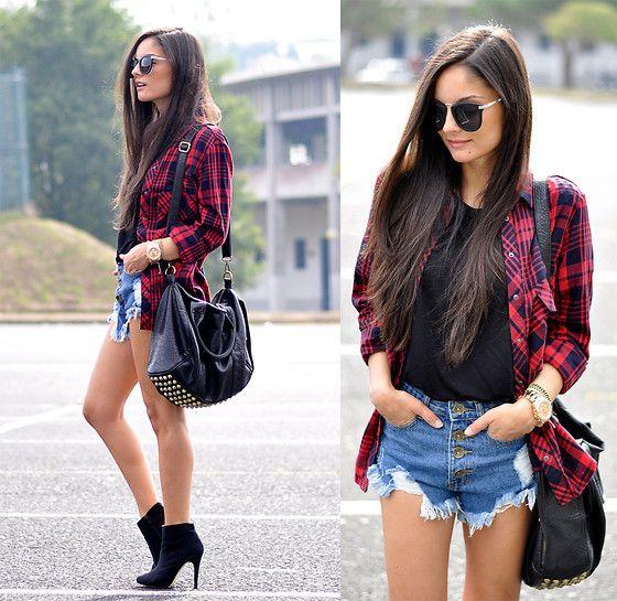 look juvenil mujer con camisa a cuadros