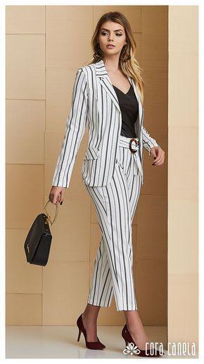 traje a rayas juvenil mujer outfit juvenil para la oficina