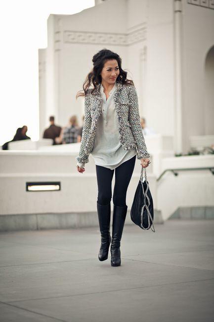 Saco tweed con calza