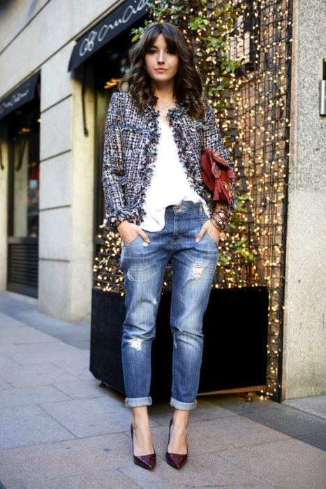 Saco tweed con jeans boyfriends