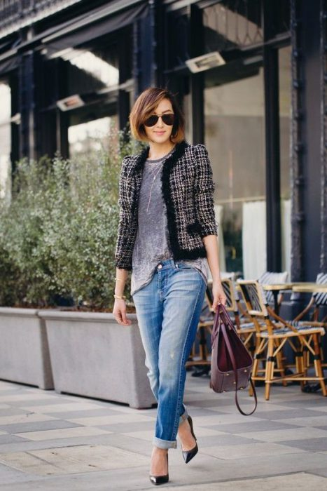 blazer tweed con jeans boyfriends