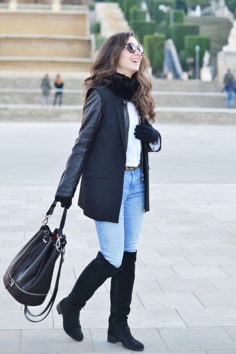 botas negras gamuzadas cañas alta look urbano